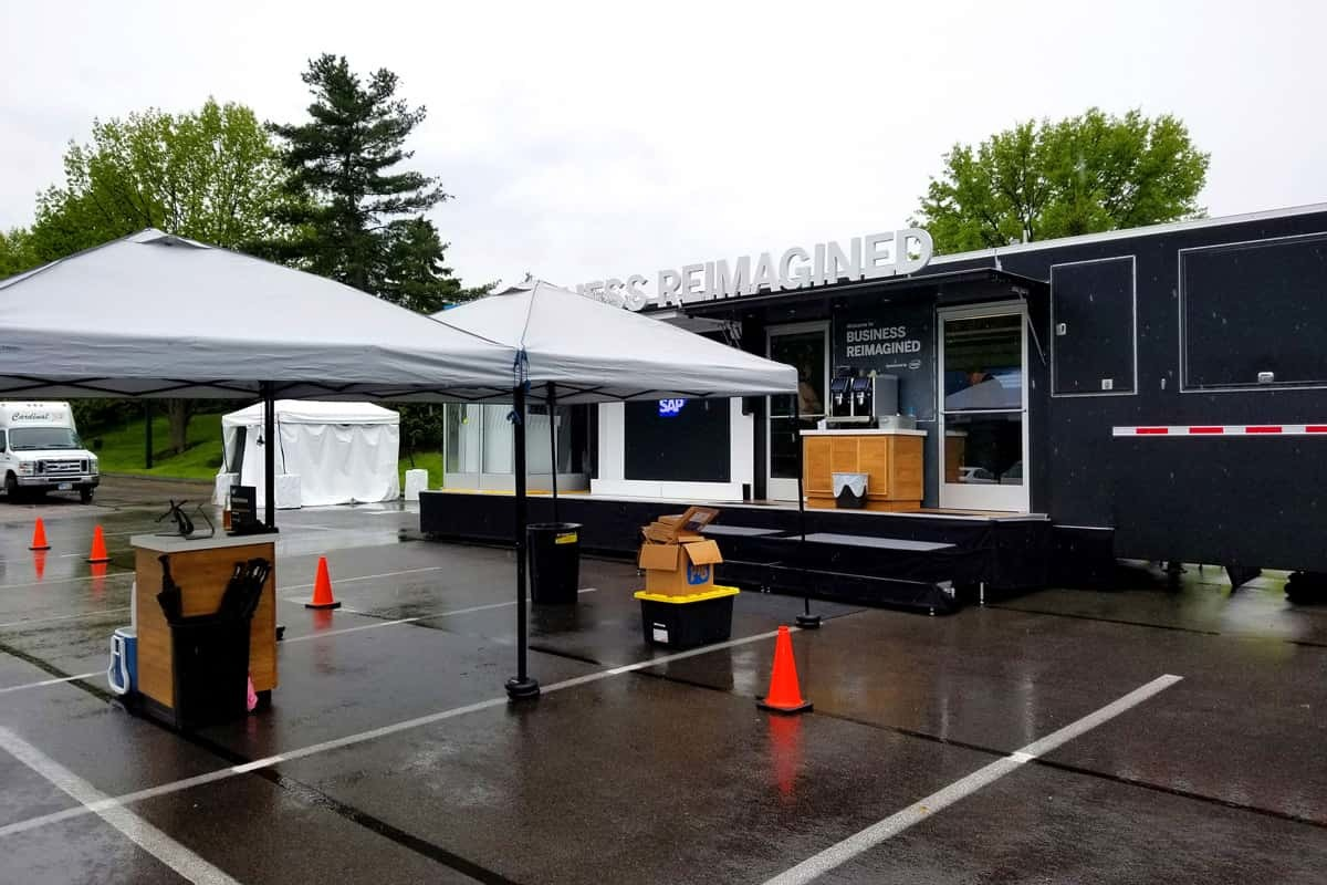 The SAP Business Reimagined mobile tour offers an outdoor theater, lawn games and a cafe.