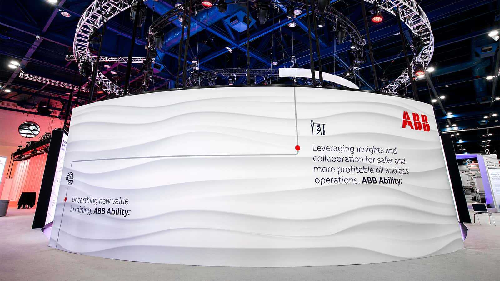 Rear view of large LED wall at ABB Ability pavilion at ABB Customer World.
