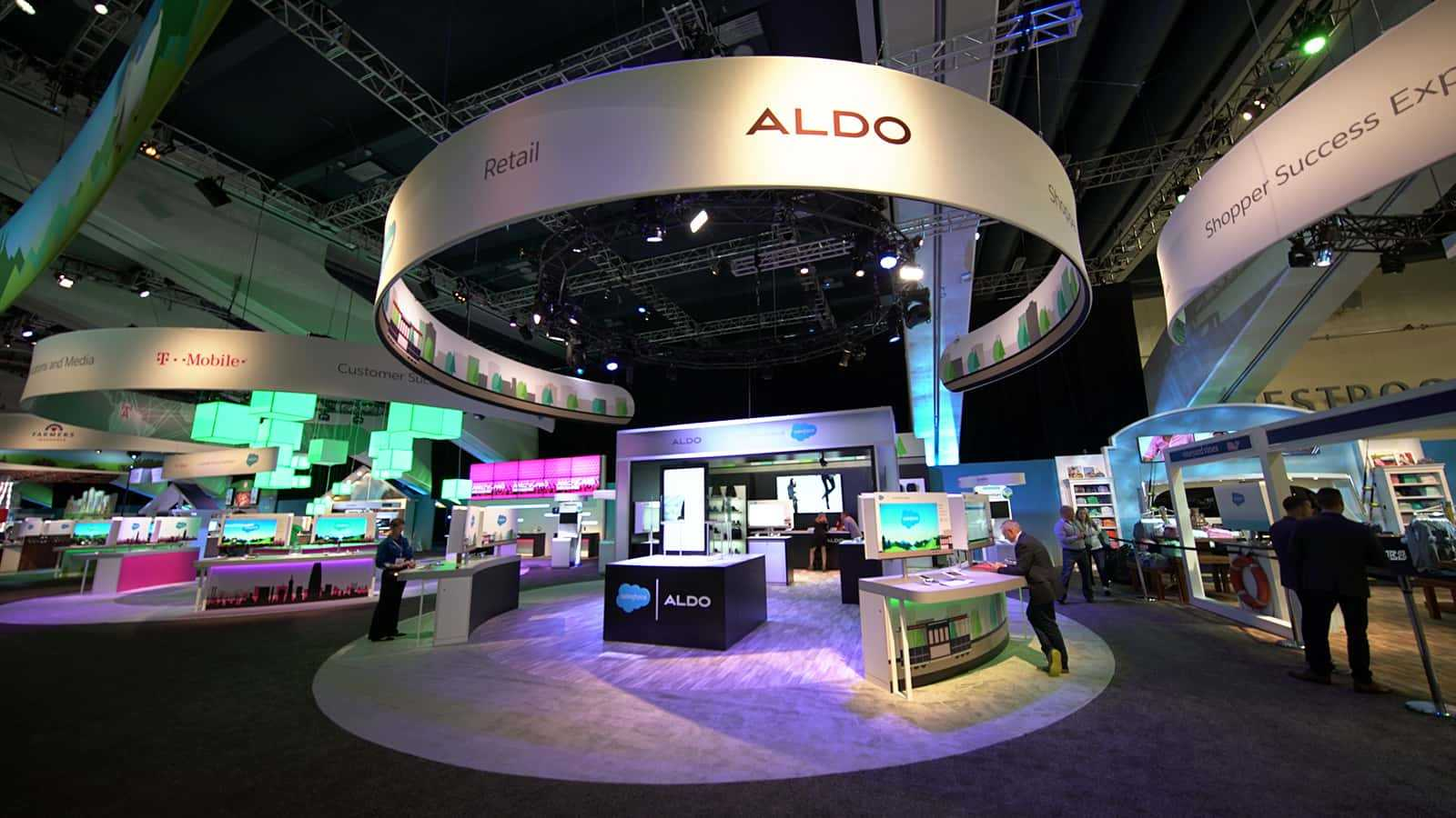 View of the exterior booth at Aldo 360's retail experience at Salesforce Dreamforce 2016.