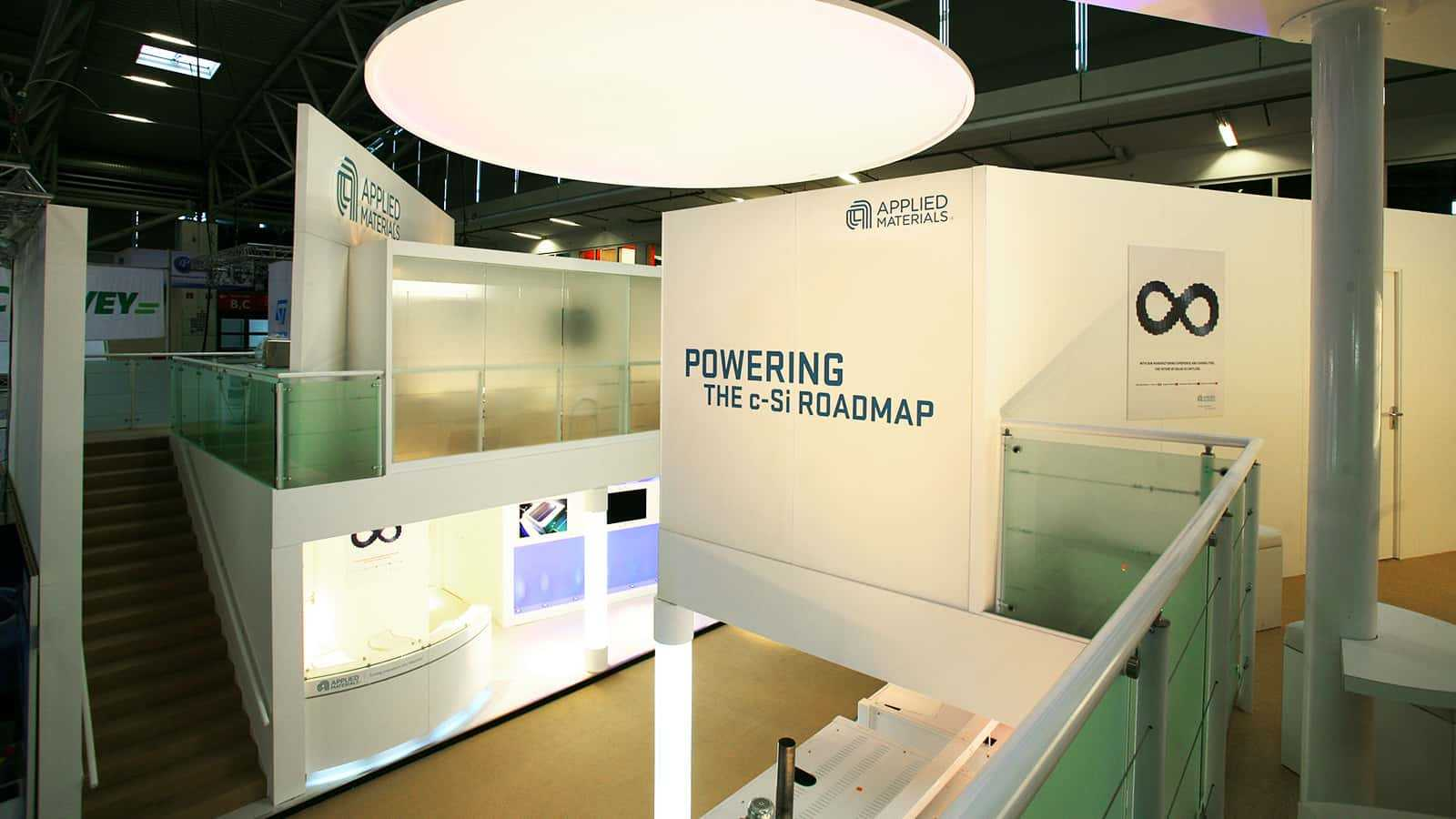 The second floor of the A look at the first floor from the Applied Materials Intersolar trade show exhibit in 2011.
