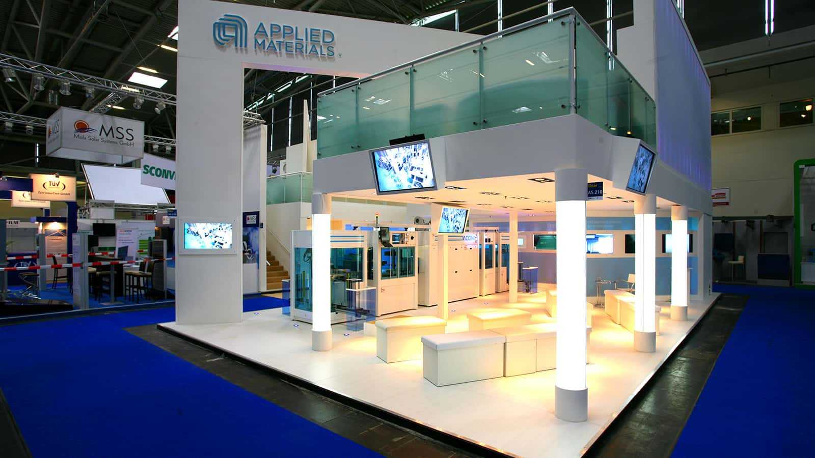 A look at the first floor from the side, at the Applied Materials Intersolar trade show exhibit in 2011.