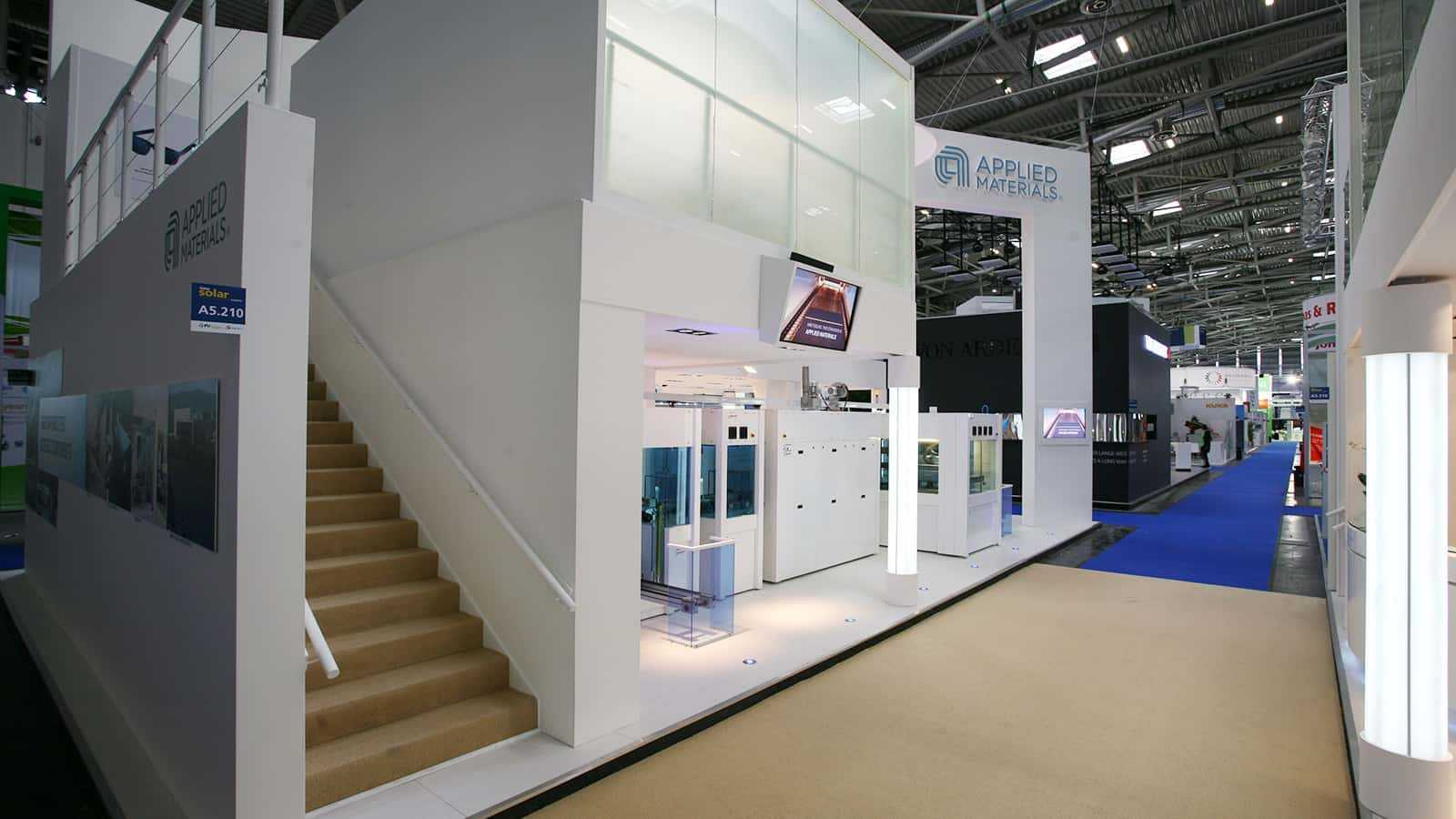 The stairs to the second floor of the A look at the first floor from the Applied Materials Intersolar trade show exhibit in 2011.