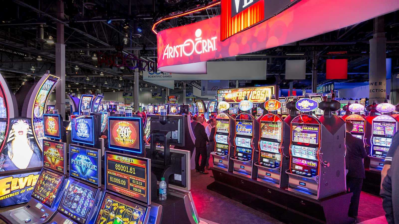 An inside look at the slot machines at Aristocrat G2E in 2016.