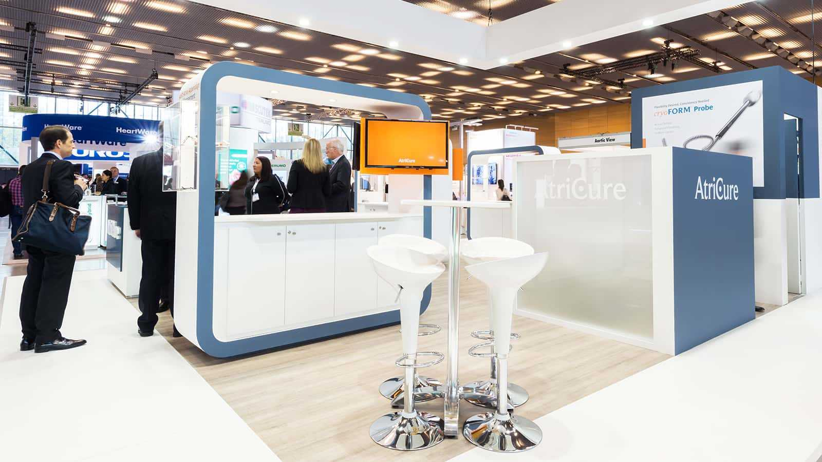 Meeting area at AtriCure EACTS 2017 trade show exhibit design experience.