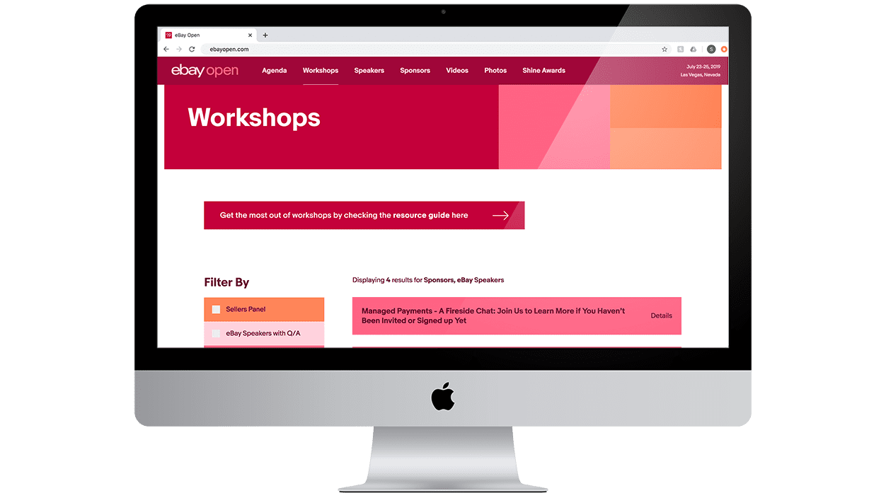 You can filter through the different workshops offered on the eBay open event website.