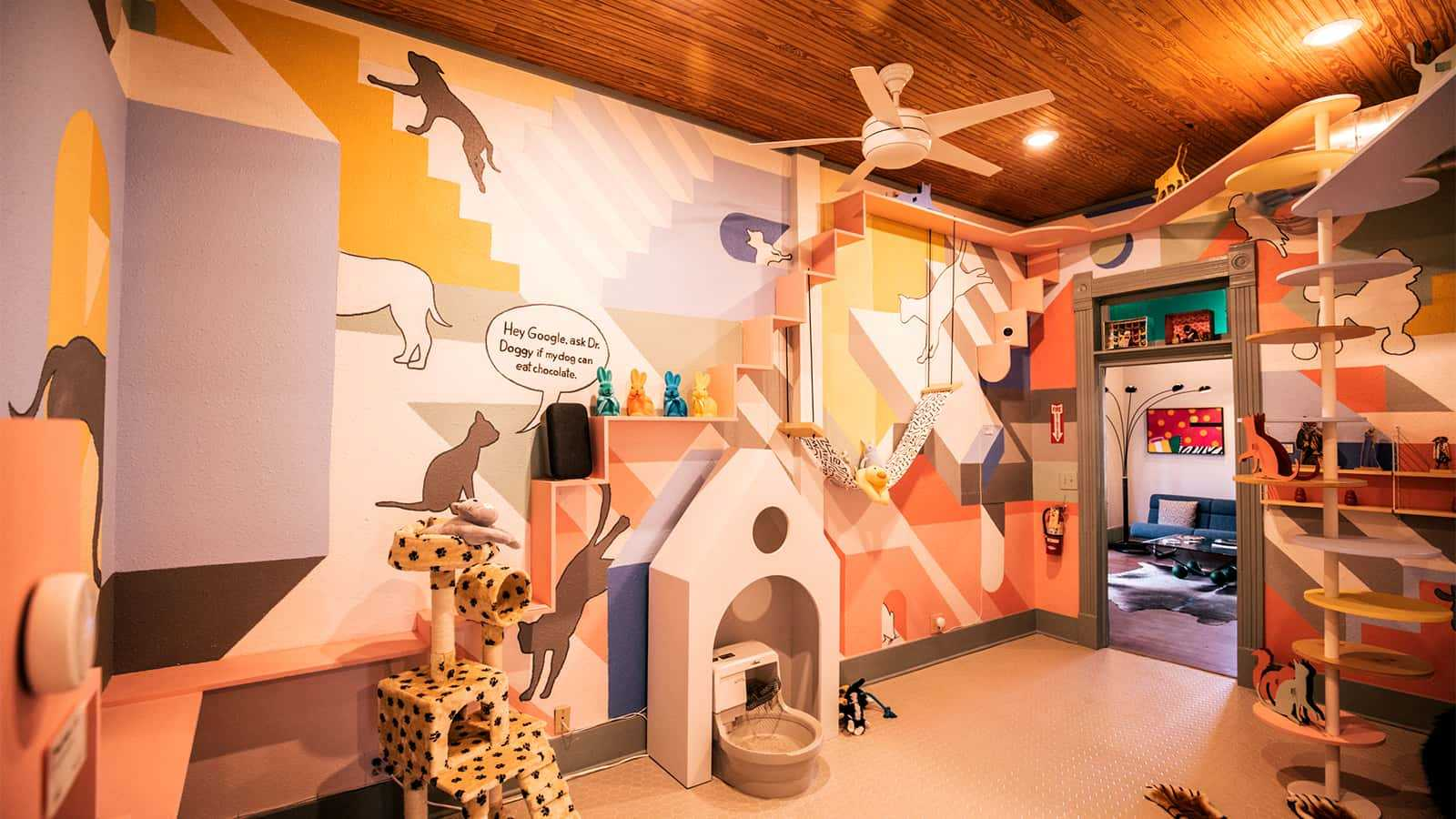 Pet room at the Google Assistant SXSW Fun House 2018 experience.