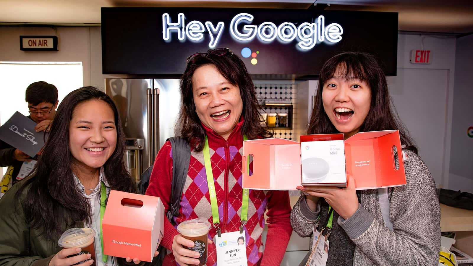 Attendees excited about new Google products at the Google CES 2018 experience.