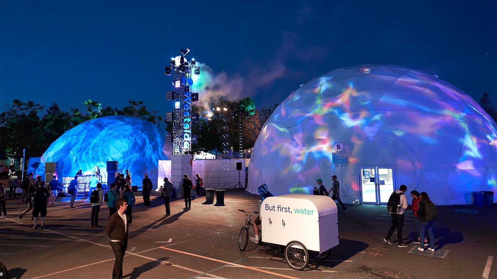 Geodesic dome nighttime lighting at Google I/O 2018.