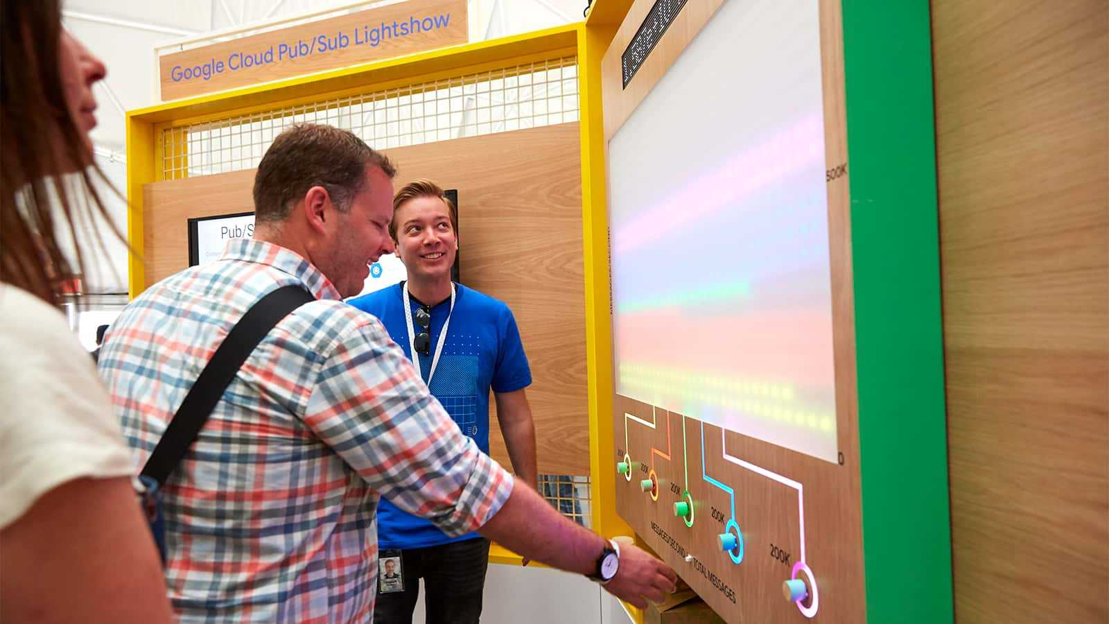 Attendee interacting with a Sandbox concept at Google I/O 2018.
