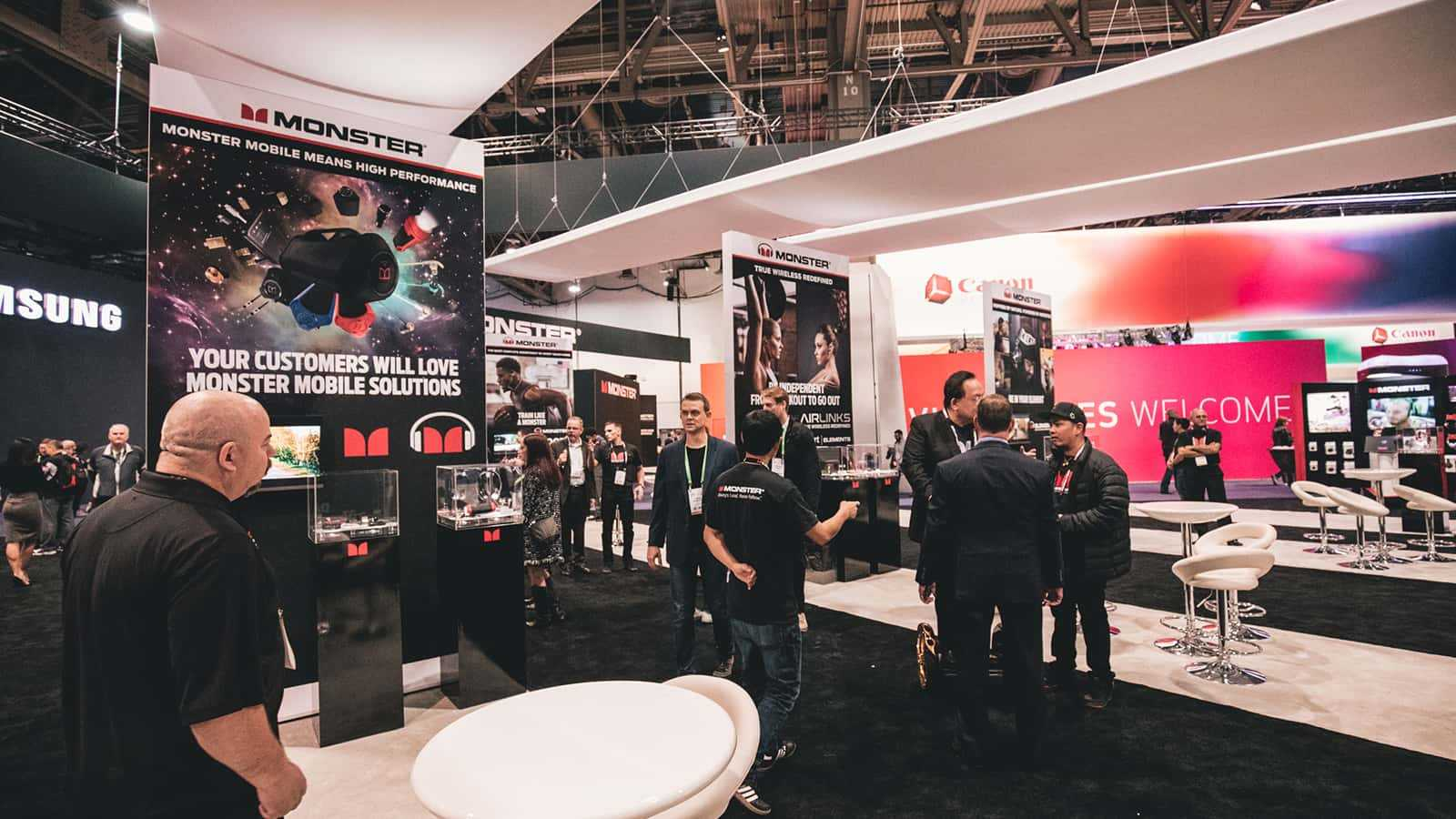 Brand ambassadors and attendees at the Monster CES 2018 experience.