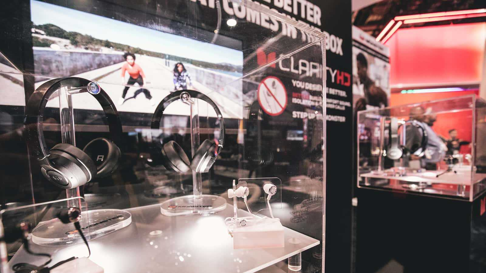 Product display close-up at the Monster CES 2018 experience.