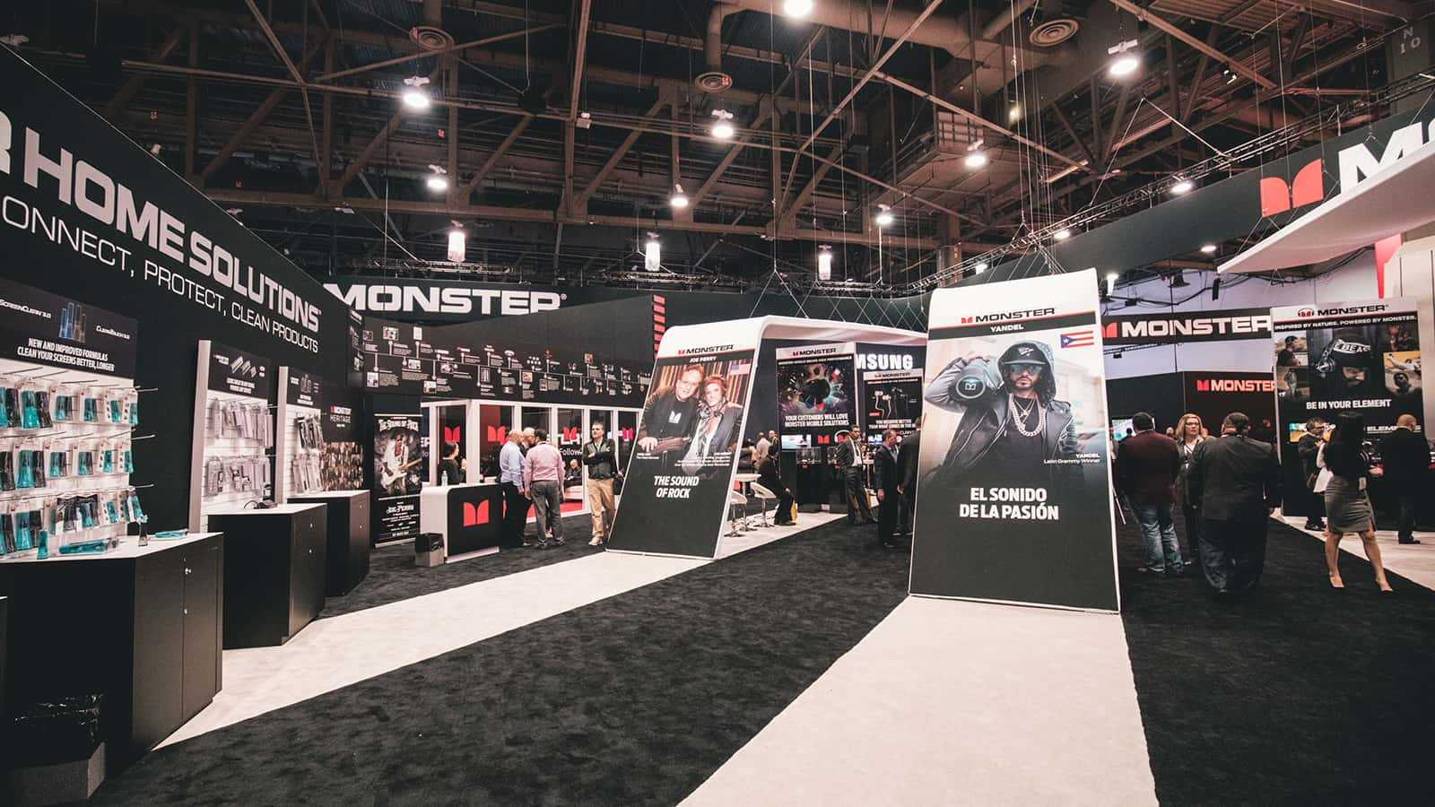 Product line risers at Monster CES 2018 experience.