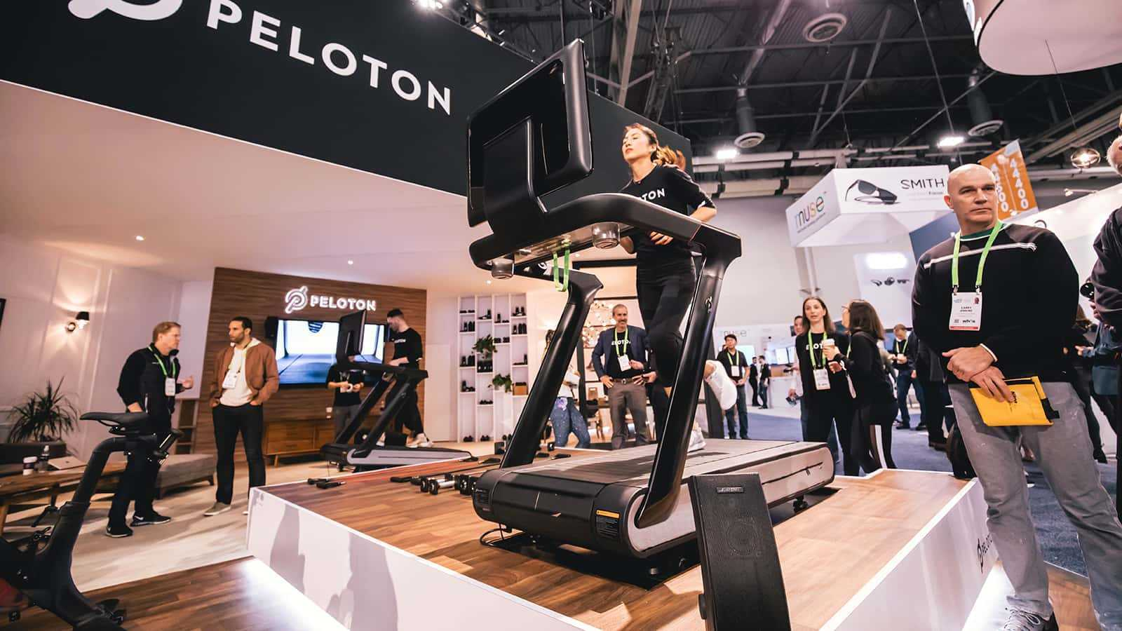 View of the front of the Tread at the Peloton CES 2018 experience.