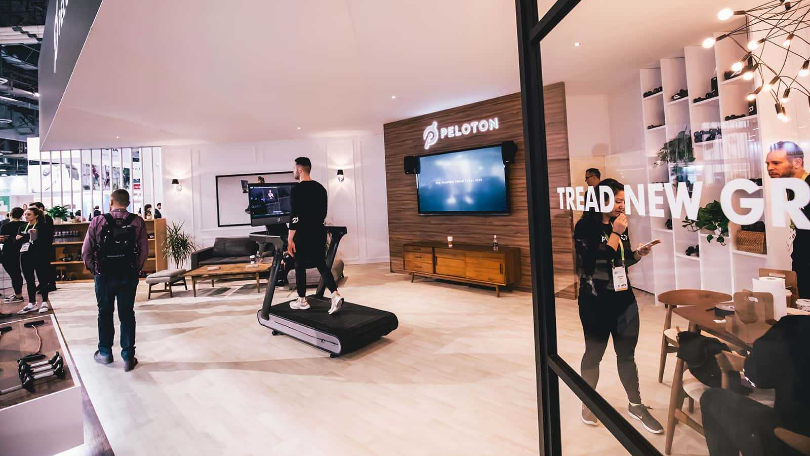 The living room at the Peloton CES 2018 experience.