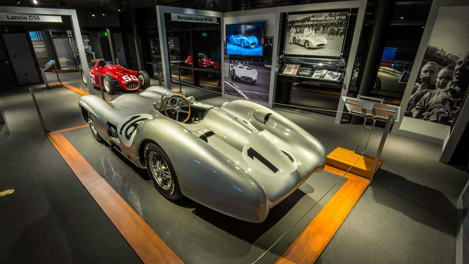 Closeup view of the Mercedes-Benz W196 at The Revs Institute Rivals exhibit 2015.