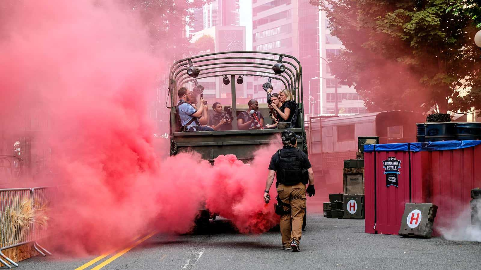 The PUBG 6x6 truck transports attendees to Twitch Broadcaster Royale.