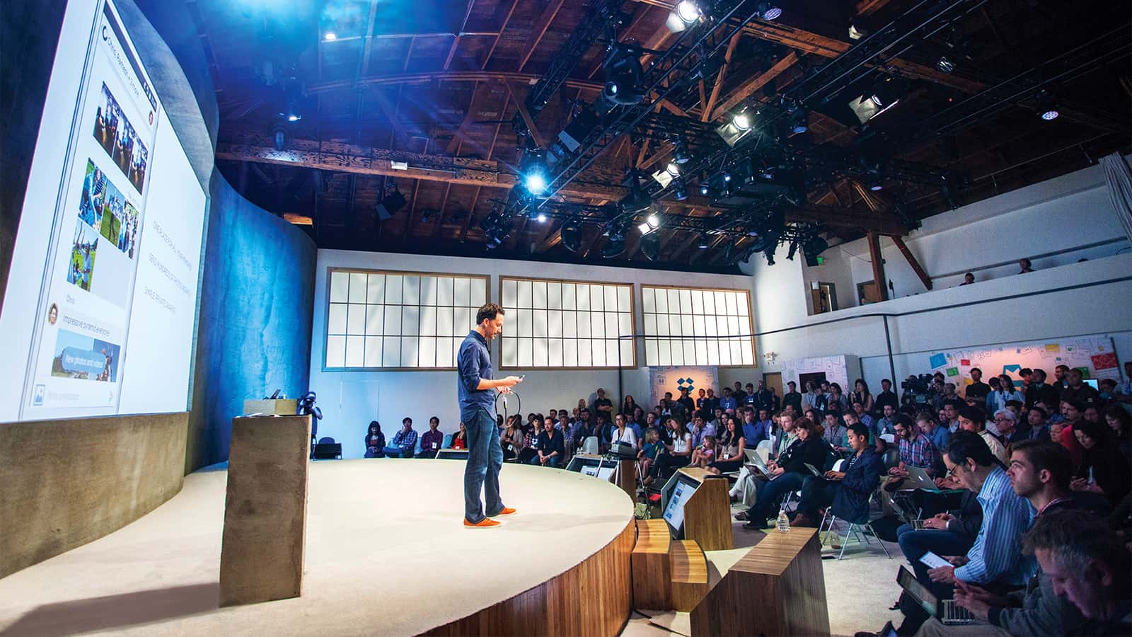 CEO, Drew Houston on stage at Dropbox 4.09 press event at Dogpatch Studios, San Francisco in 2014.