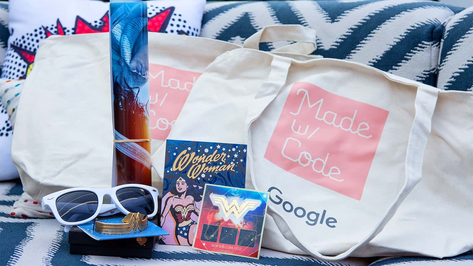 Swag bags at the Google Made with Code Wonder Woman 2017 event.