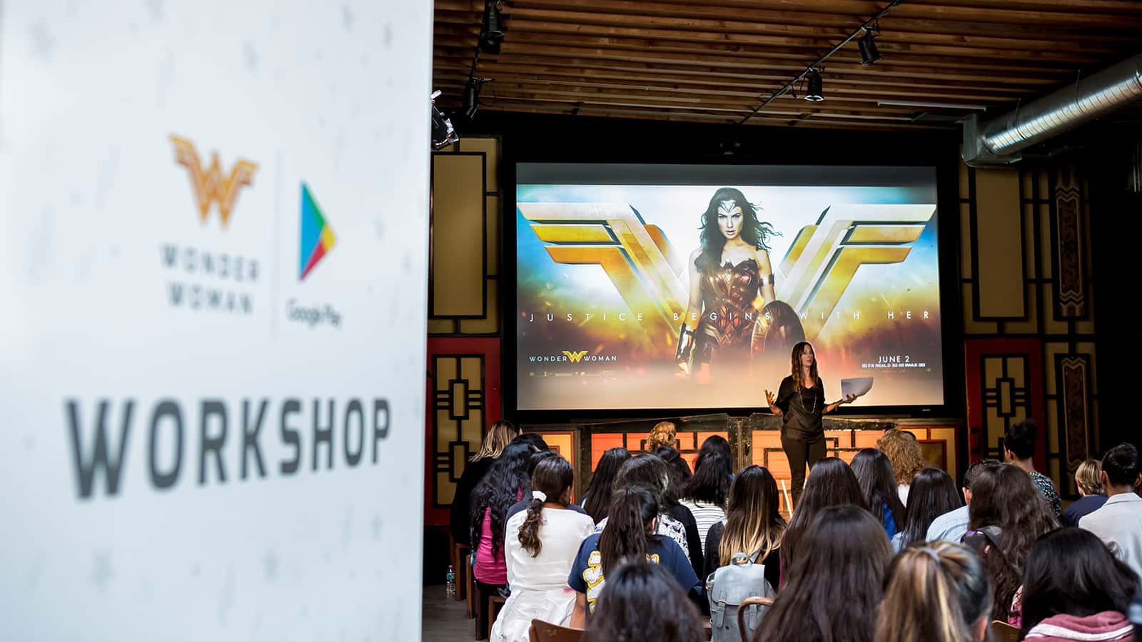 Presentation begins at the Google Made with Code Wonder Woman 2017 event.