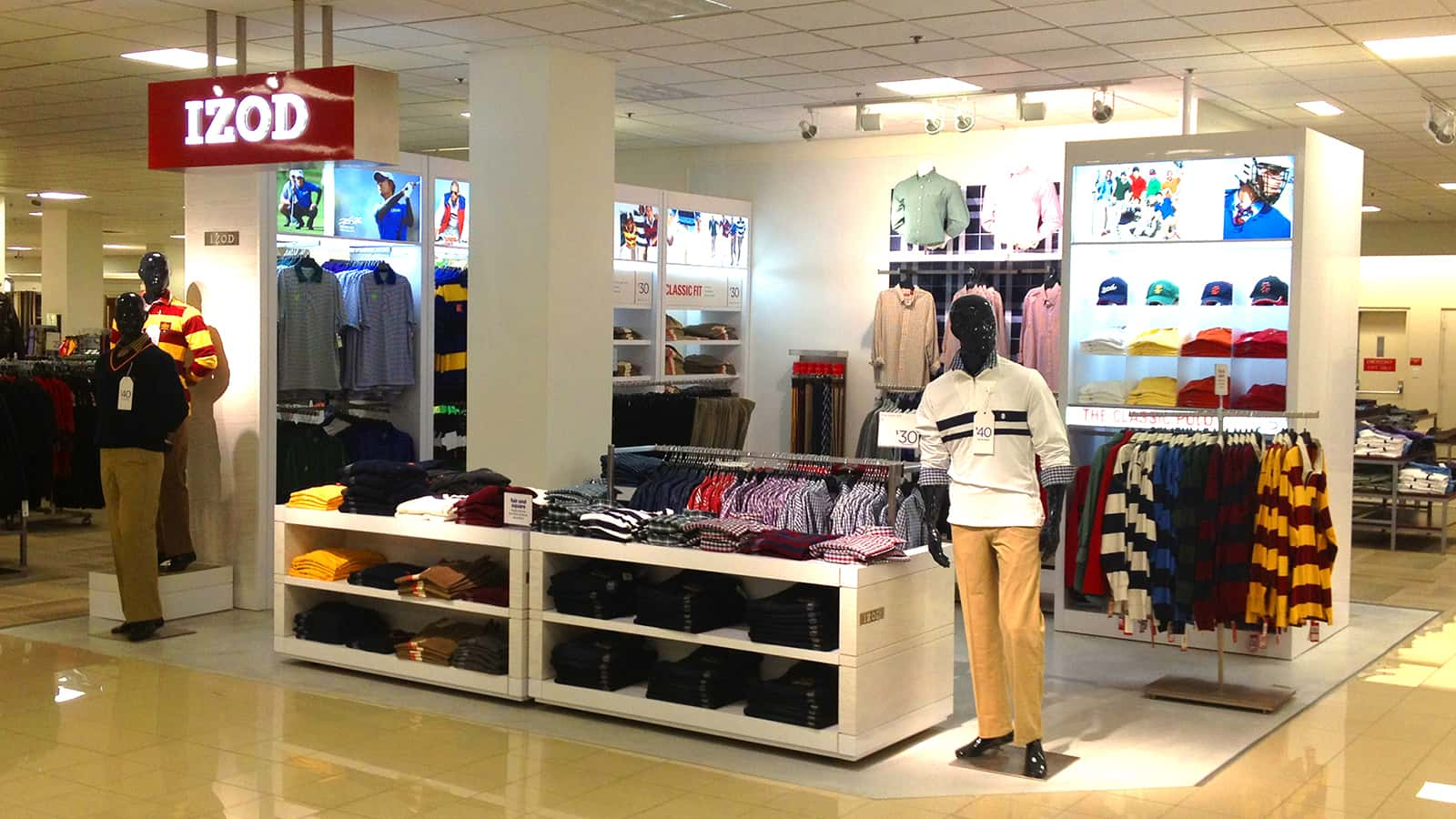 Right front view of IZOD JCPenney Men's shop-in-shop.