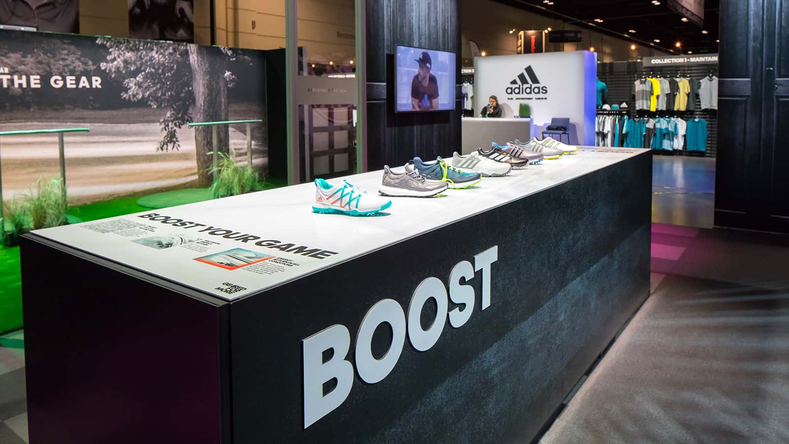 Detail view of the Boost retail zone at the adidas Golf PGA Merchandise Show 2017 experience.