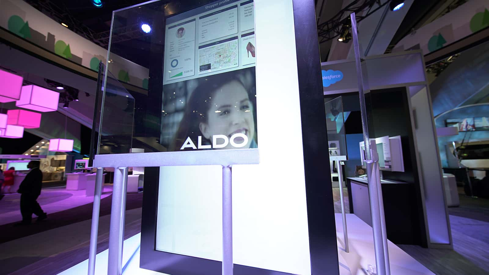 A video screen from the Aldo 360 View digital retail experience at Salesforce Dreamforce 2016.