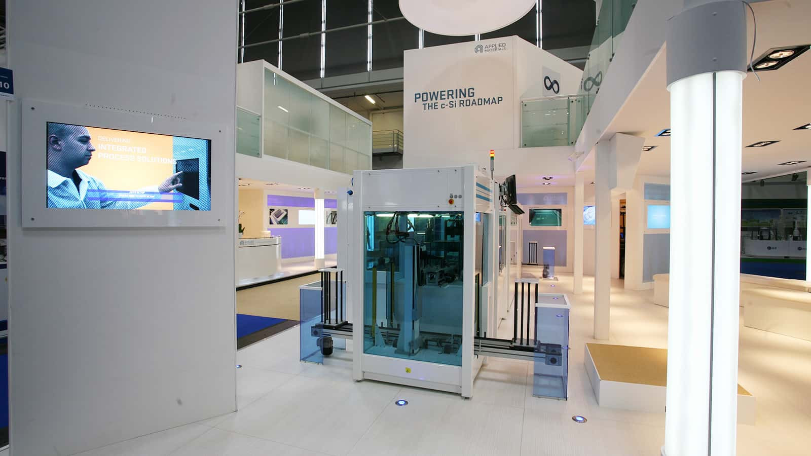 A view from inside the first floor from the Applied Materials Intersolar trade show exhibit in 2011.