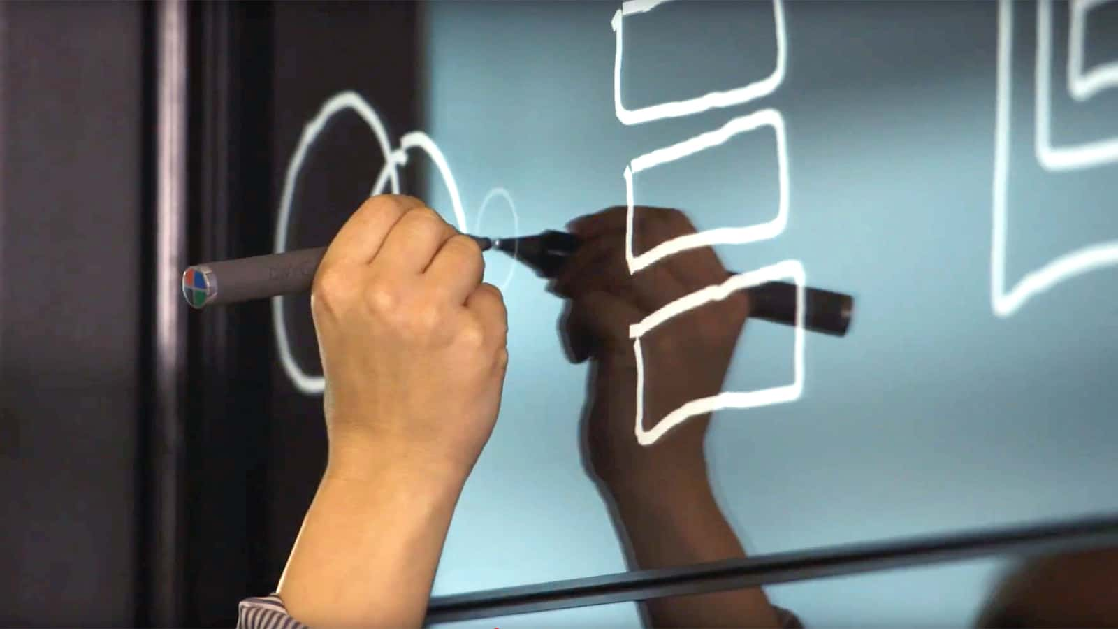 Interactive wall technology at the HPE Customer Engagement Center in New York City.