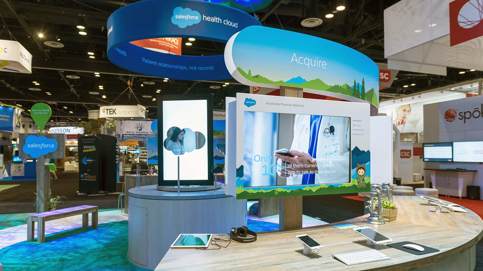 Close-up view of exhibit elements at the Salesforce Health HIMSS 2018 experience.
