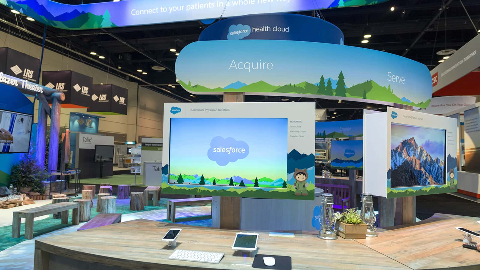 Close-up view of demos at the Salesforce Health HIMSS 2018 experience.