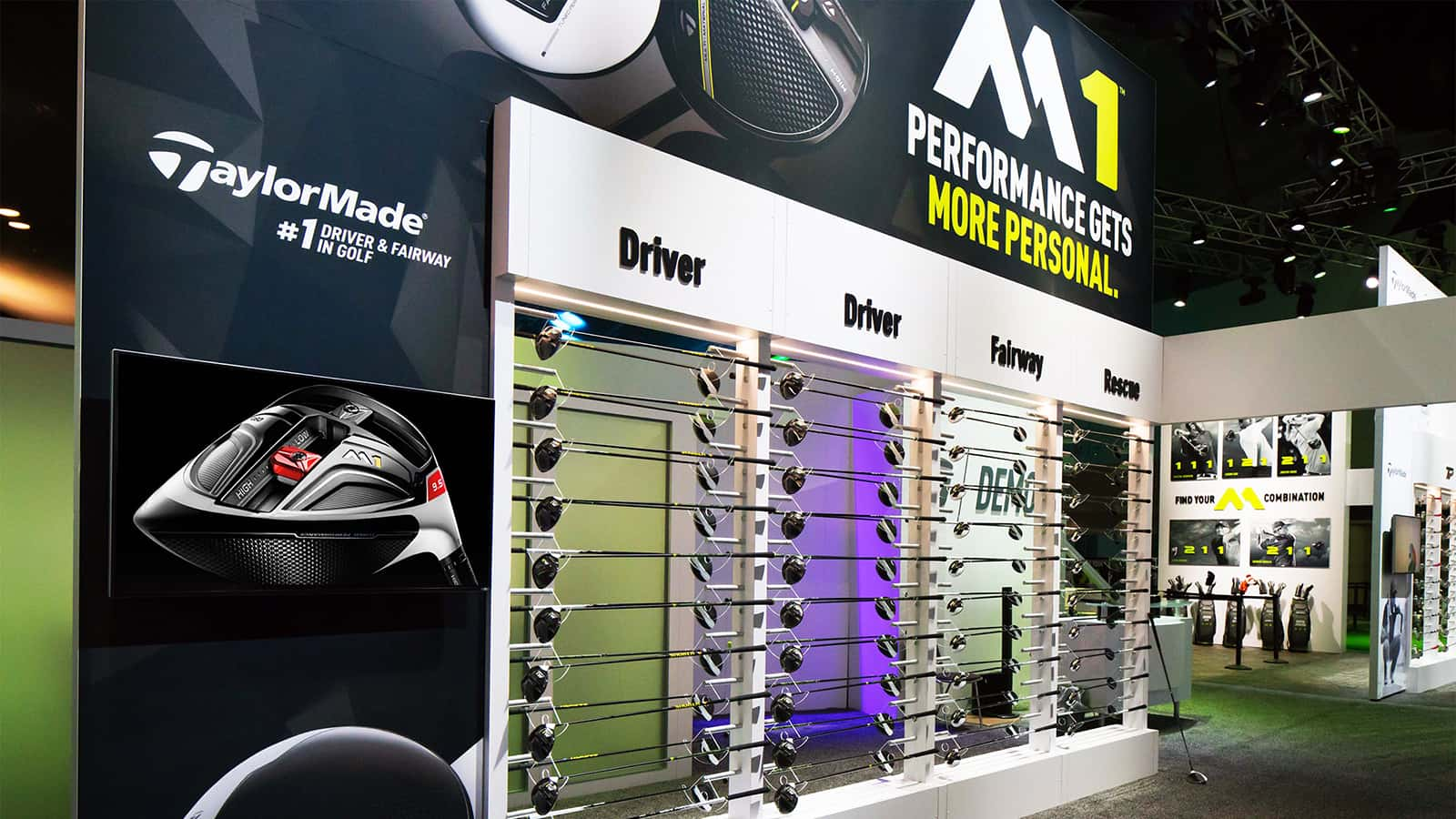 Golf club display at the TaylorMade PGA Merchandise Show 2017 experience.
