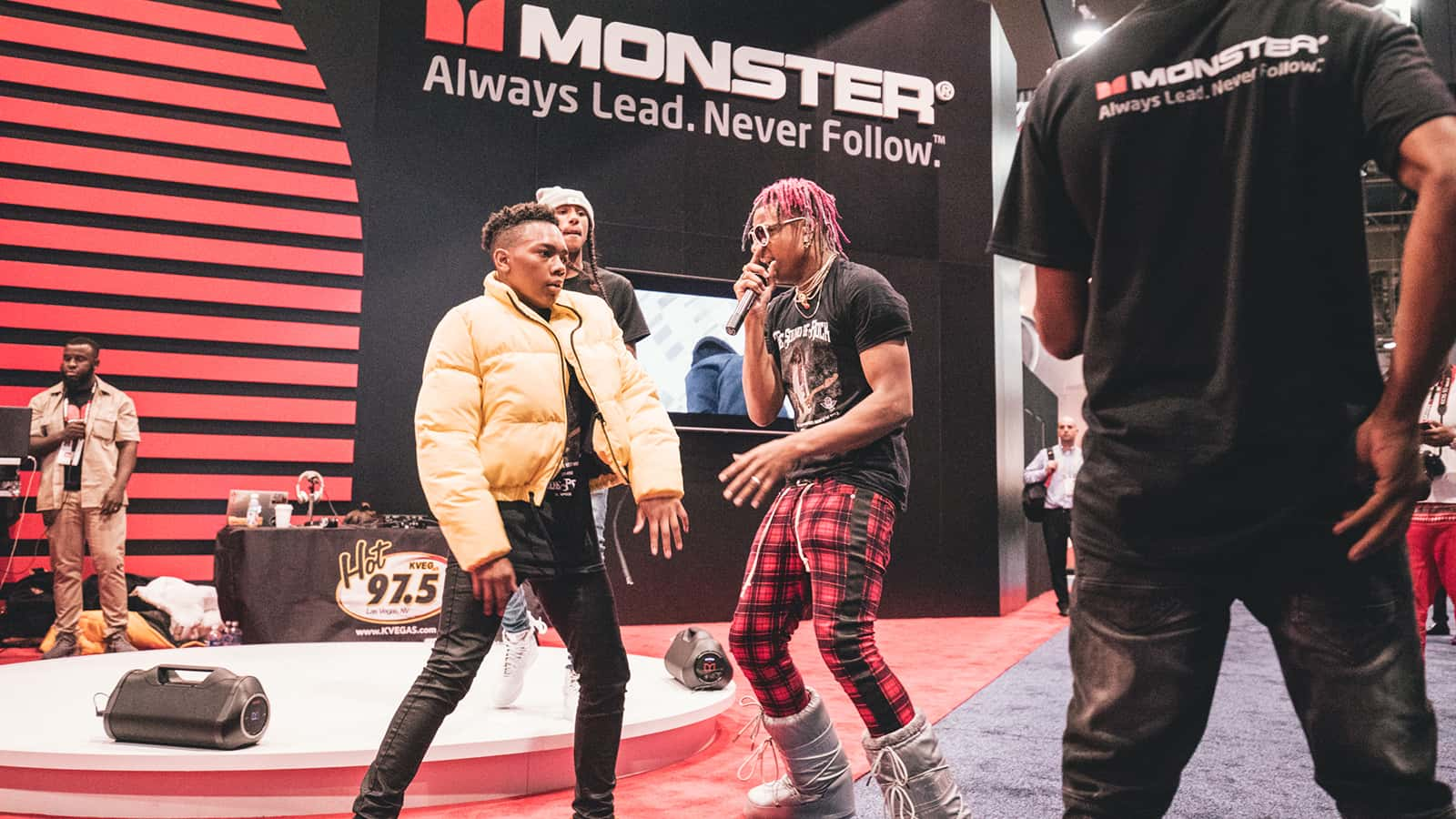 Entertaining attendees at the Monster CES 2018 experience.