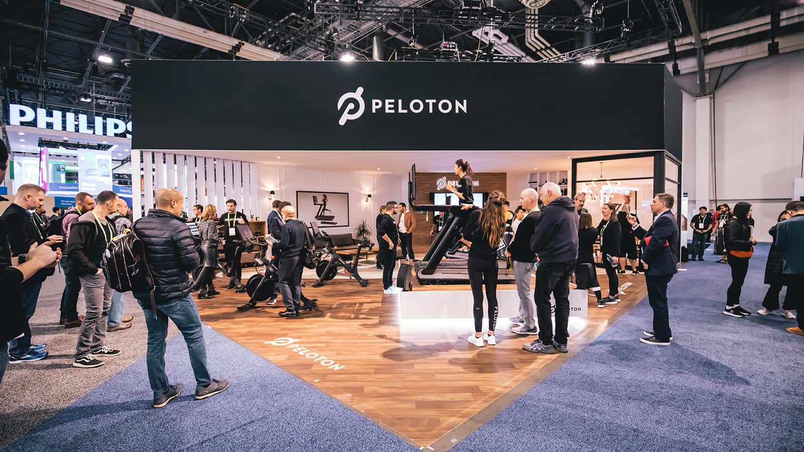 View from the front of the Peloton CES 2018 experience.