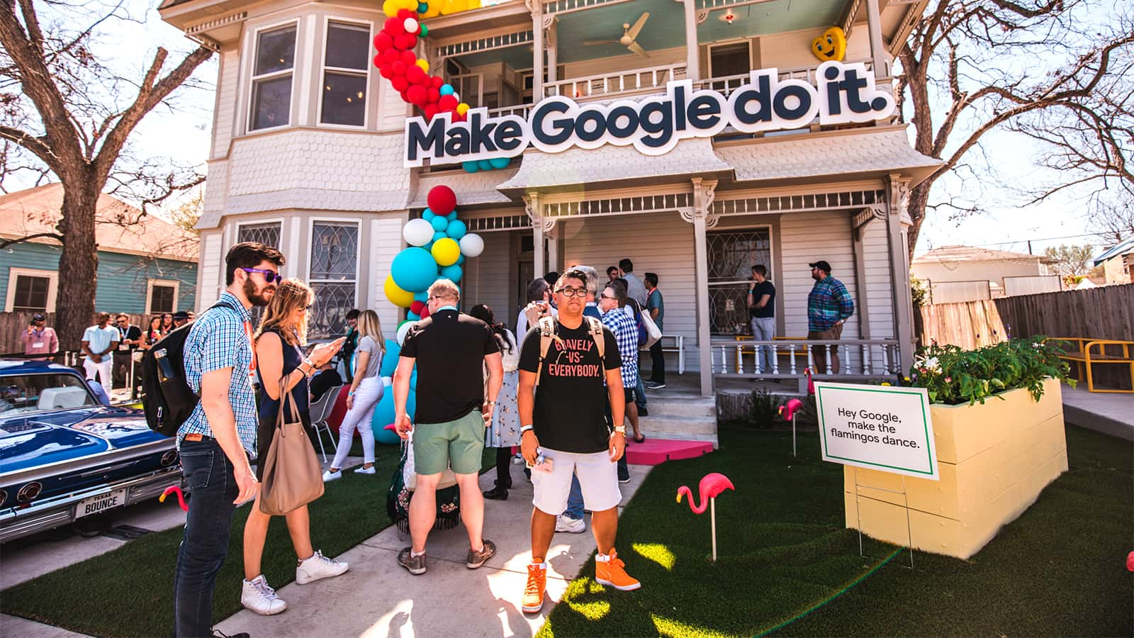 Guest waiting their turn to tour the Google Assistant SXSW Fun House 2018 experience.